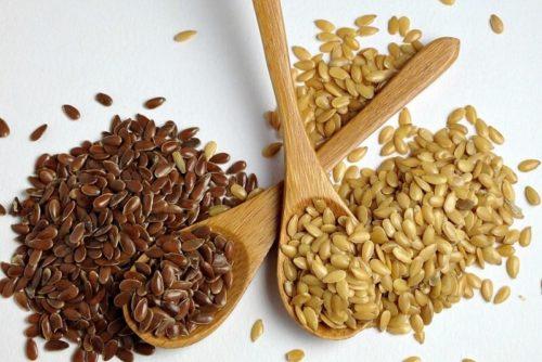 Семена льна, белые и коричневые