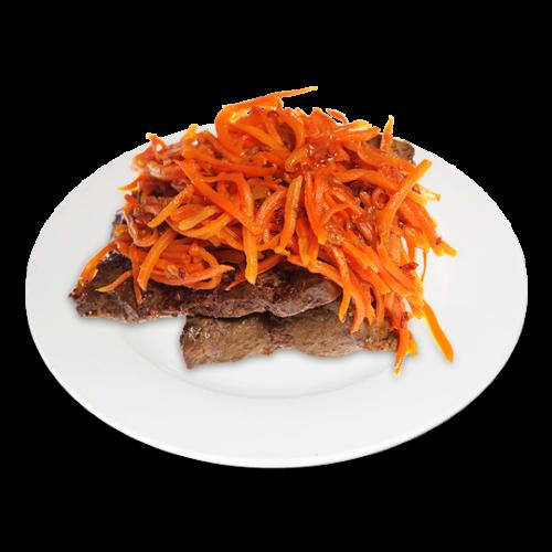 Говяжья печень с морковью